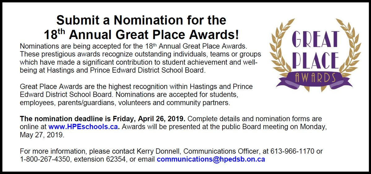 Great Place Awards Information